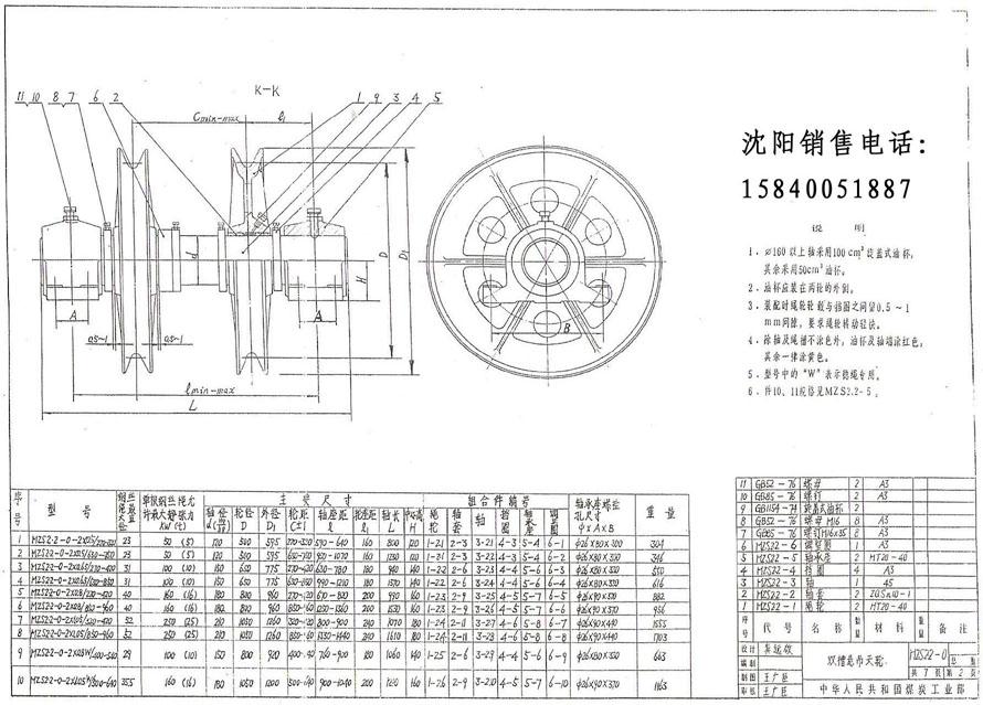 凿井悬吊天轮(双槽)技术参数